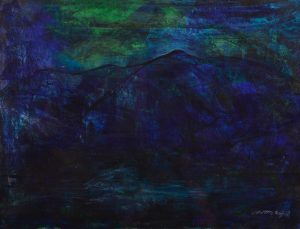 Up to the Mountain | 81x68 | akryyli, tempera | 1200 € (passepartout, lasi, musta kehys)